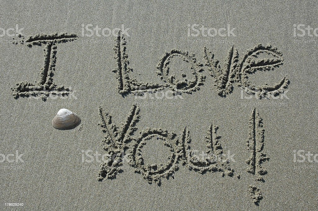 Sand Writing - I Love You! royalty-free stock photo