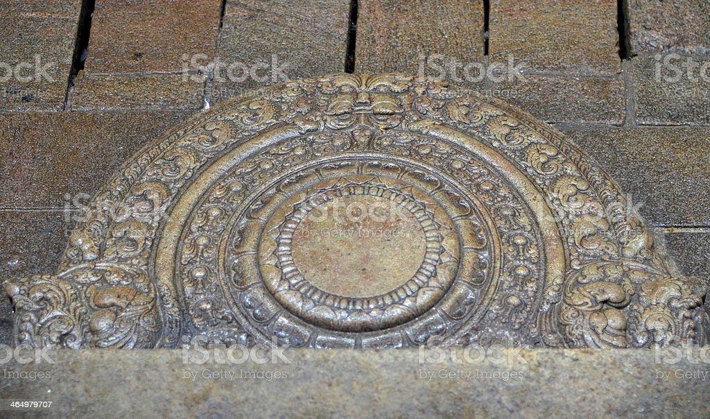 Sandakada Pahana - Stone Carving stock photo