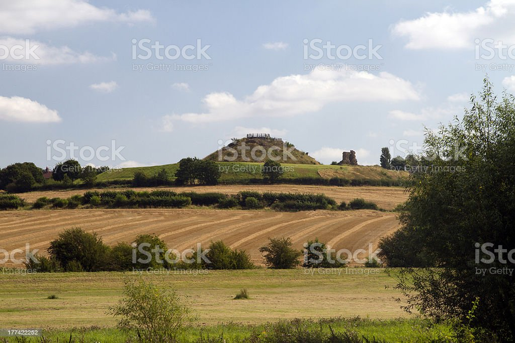 Sandal castle from the fields stock photo