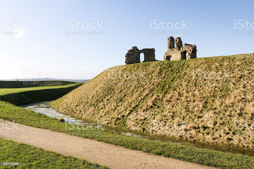 Sandal Castle Moat and Ruins in Wakefield in West Yorkshire stock photo