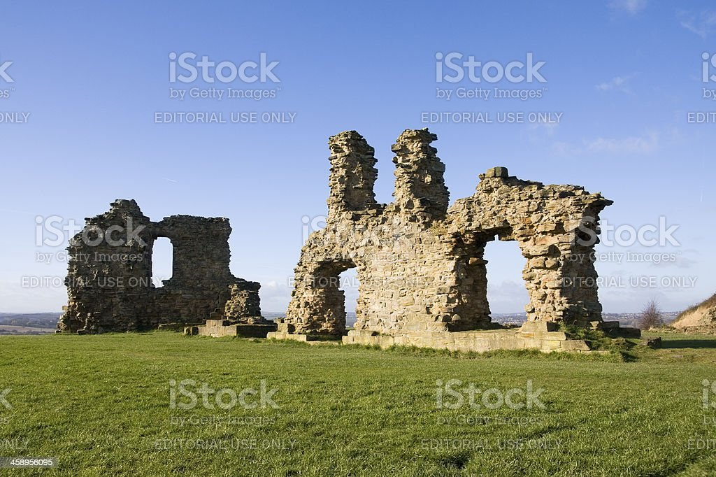 Sandal Castle Ruins in Wakefield in West Yorkshire royalty-free stock photo