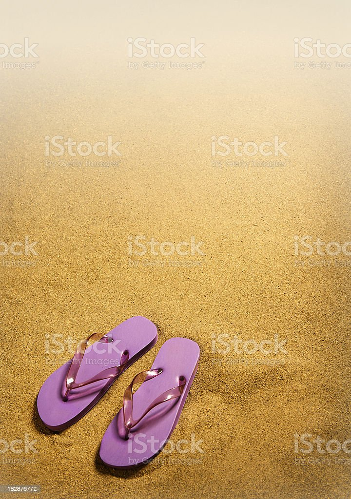 sandals and sand stock photo