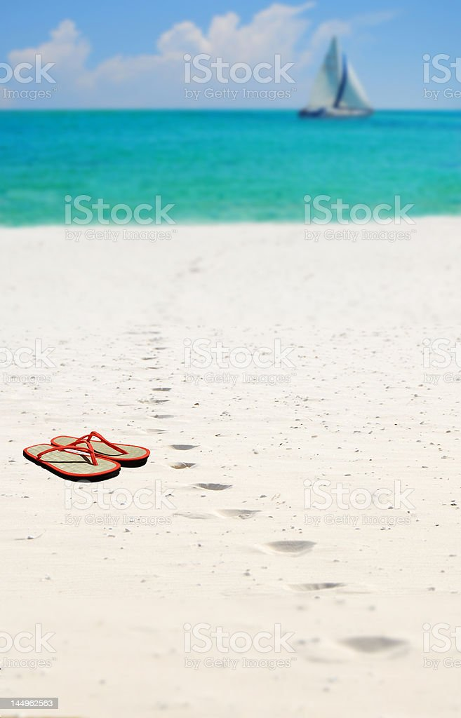 Sandals in the Sand stock photo
