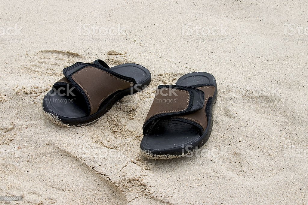 Sandals on Beach royalty-free stock photo