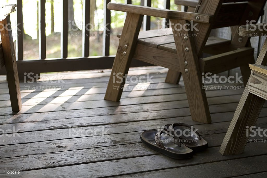 Sandals on Porch royalty-free stock photo