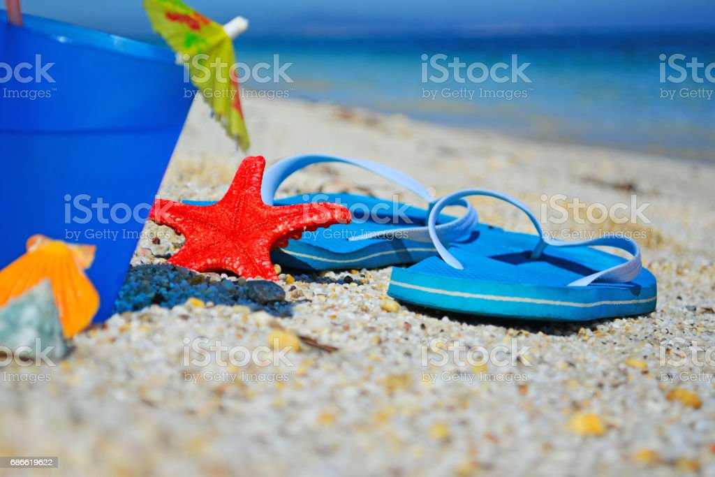 sandals on the sand royalty-free stock photo