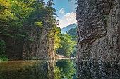 Scenery of the Sandankyo (Special Places of Scenic Beauty) Gorge Kurobuchi. Sandankyo is a 16-kilometer long ravine in the Nishi-Chugoku Sanchi Quasi-National Park in Akiota, Hiroshima, Japan.