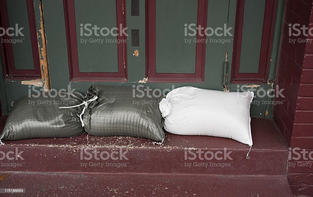 Sandbag Preparation for Hurricane Flood Alert stock photo
