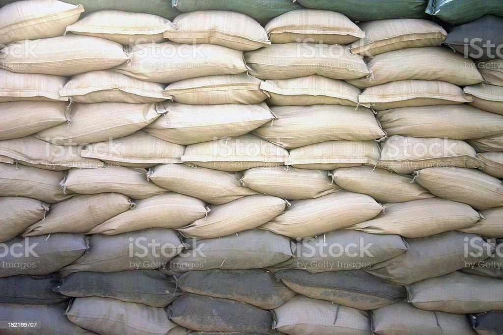 Sandbag wall royalty-free stock photo