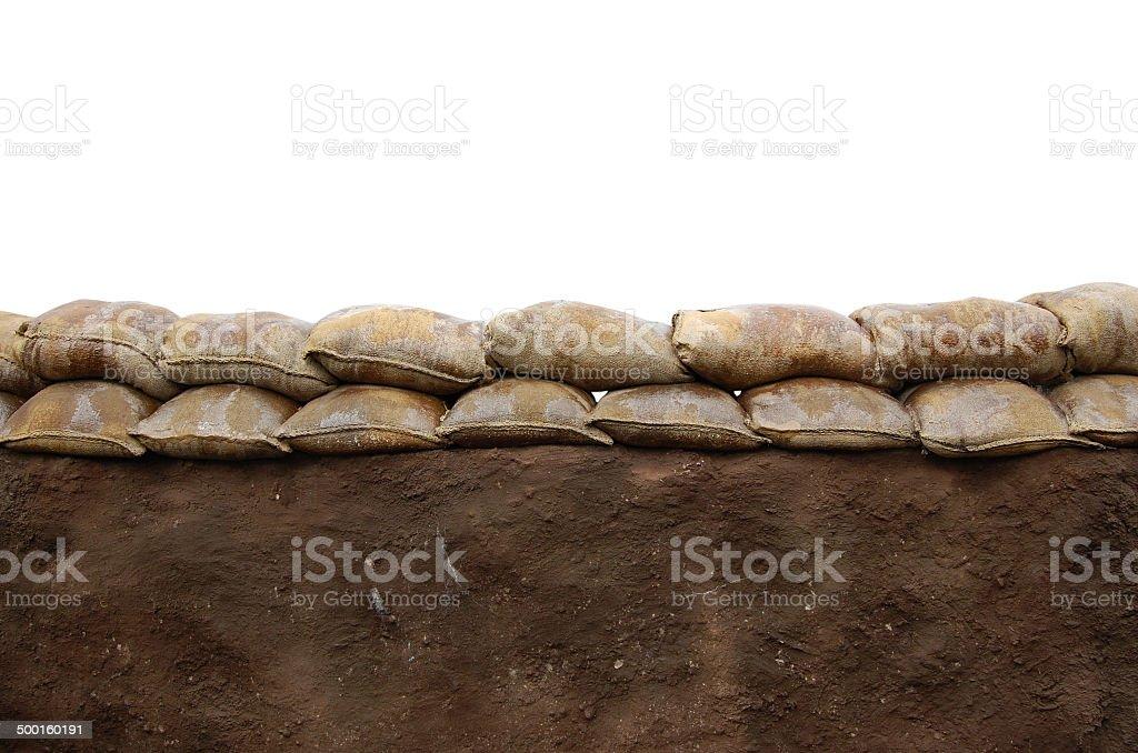 Sandbag wall stock photo