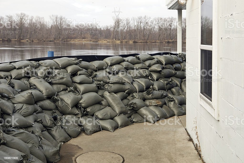 Sandbag Wall Prepared for a Major River Flood royalty-free stock photo