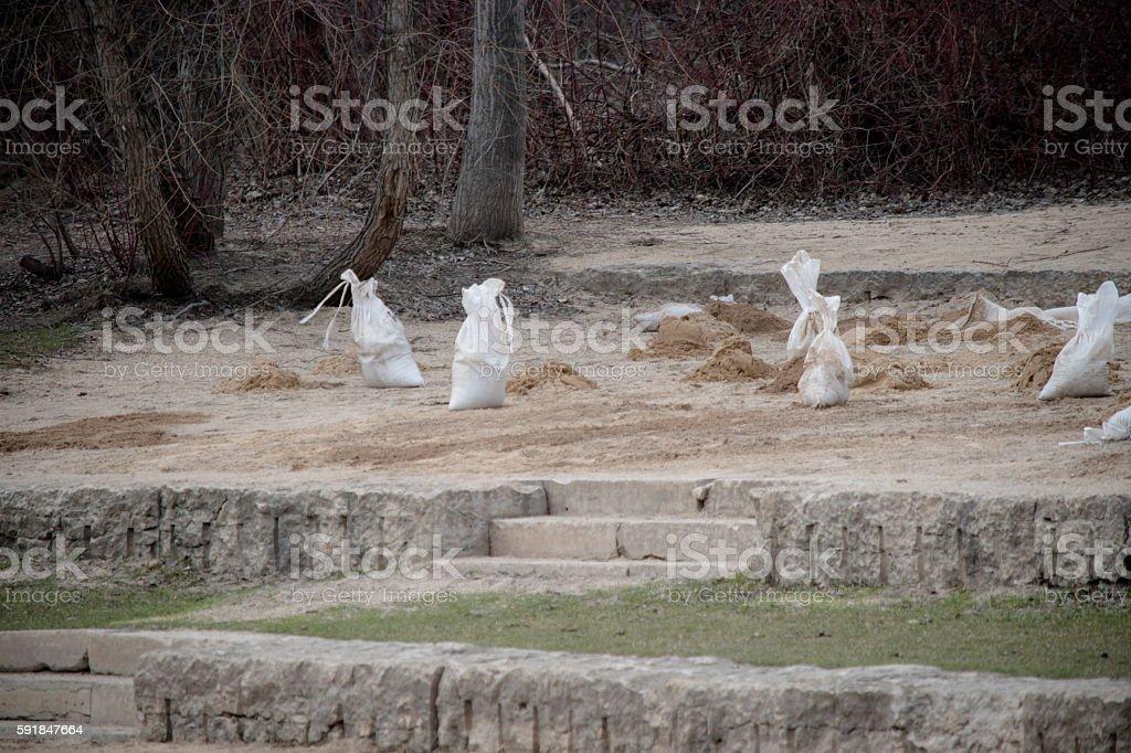 Sandbags flood prevfention stock photo