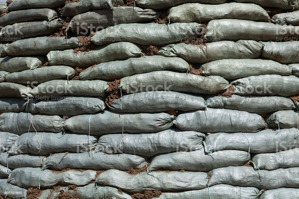 Sandbags for flood protection stock photo