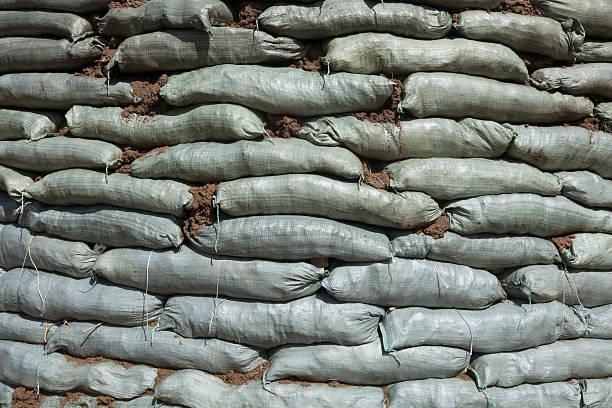 Sandbags for flood protection stock photo