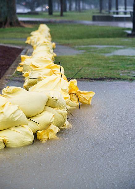 Sandbags in Flooded Park stock photo