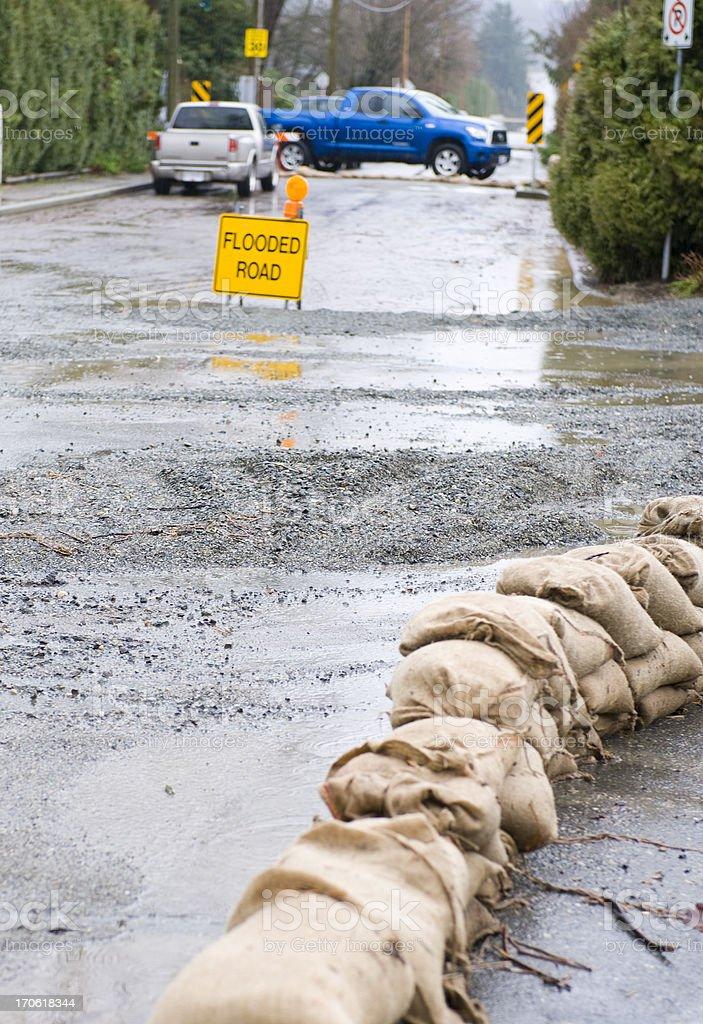 Sandbags on Road stock photo