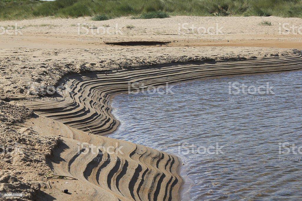 Sandbank on Embleton Beach Estuary stock photo