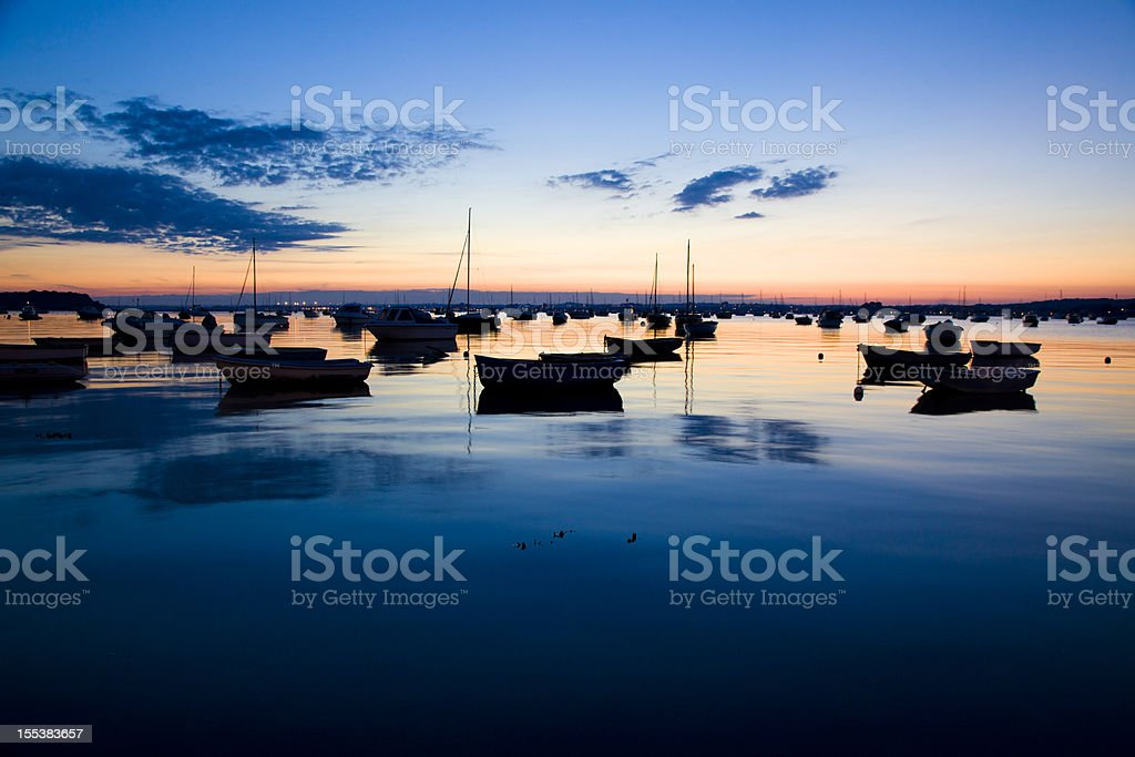 Sandbanks Harbour at Dusk Seascape stock photo