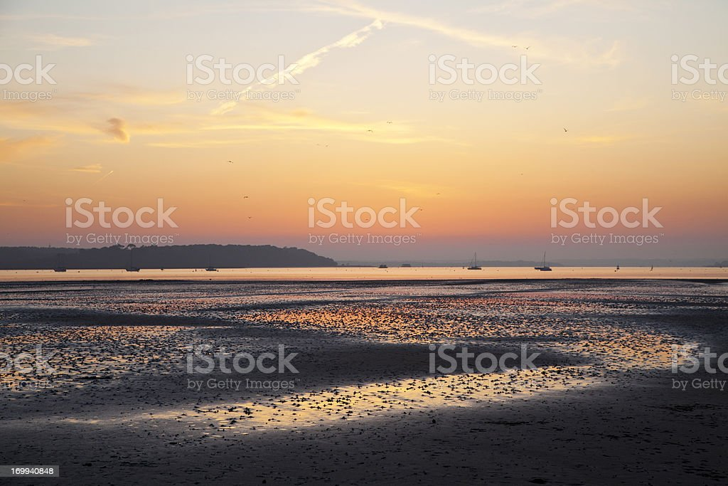Sandbanks Lowtide Sunset stock photo