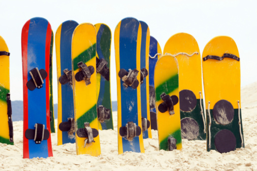 Sandboards. Focus on back.See my beach images serie by clicking on the link below: