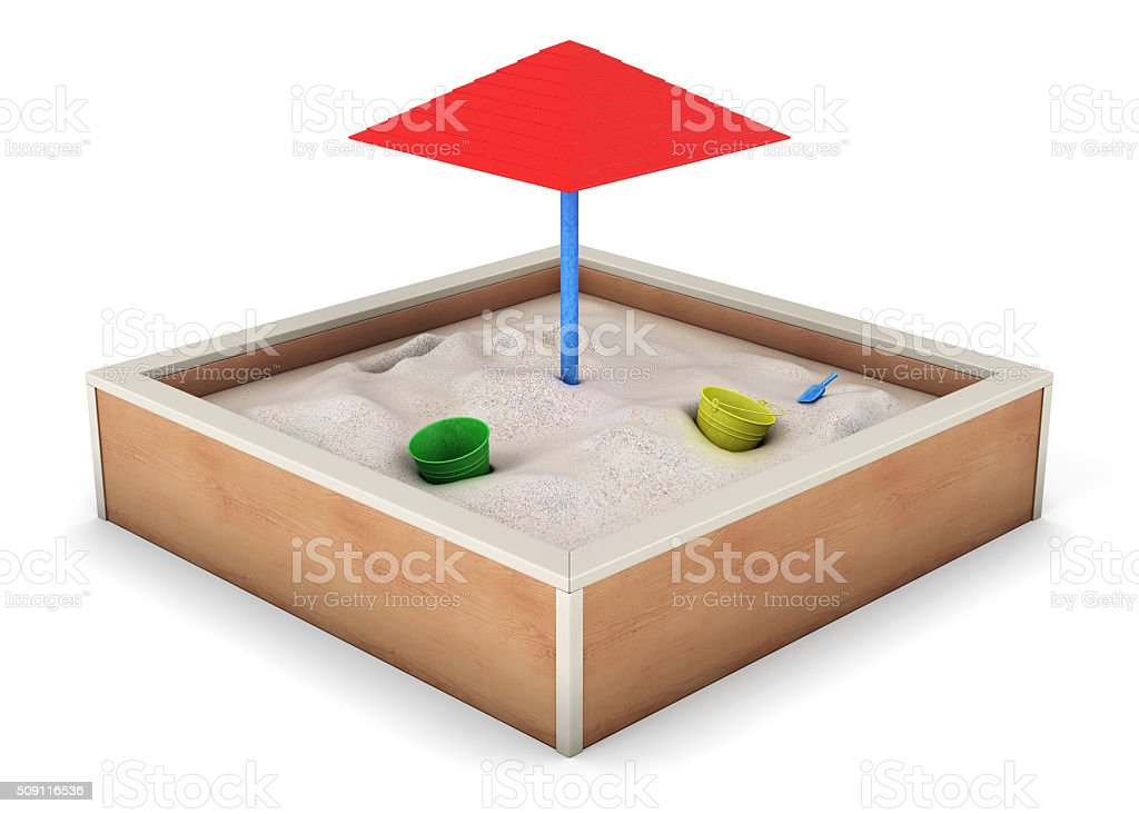 Sandbox isolated on white background. 3d rendering stock photo
