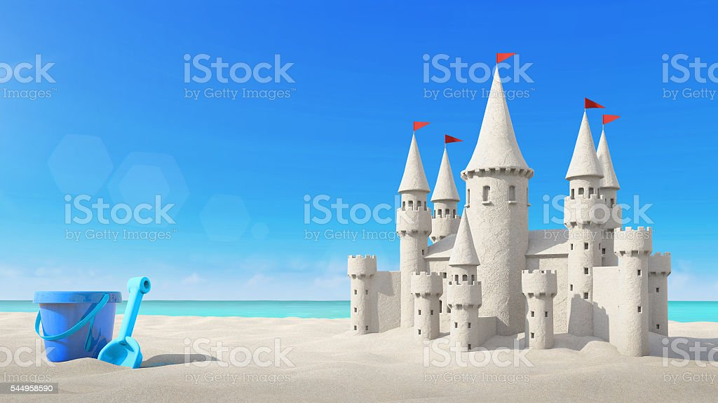 Sandcastle beach and toy on bright sky. 3d rendering stock photo