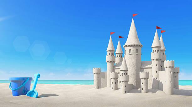 sandcastle beach and toy on bright sky. 3d rendering - chateau de sable photos et images de collection