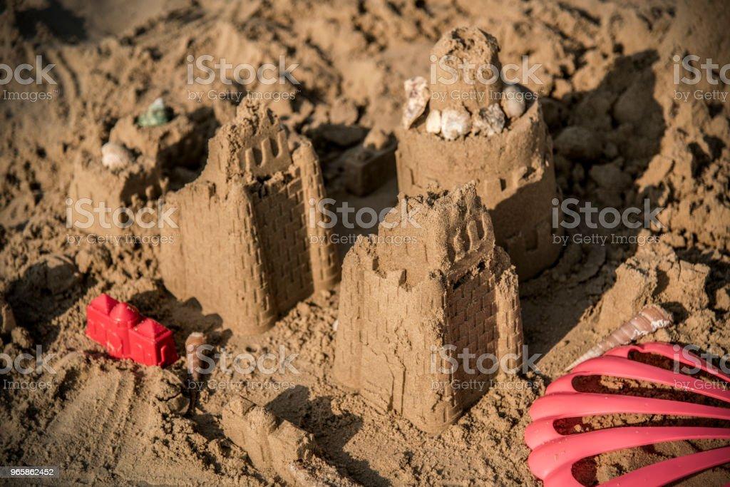 Sandcastle on a warm beach - Royalty-free Beach Stock Photo