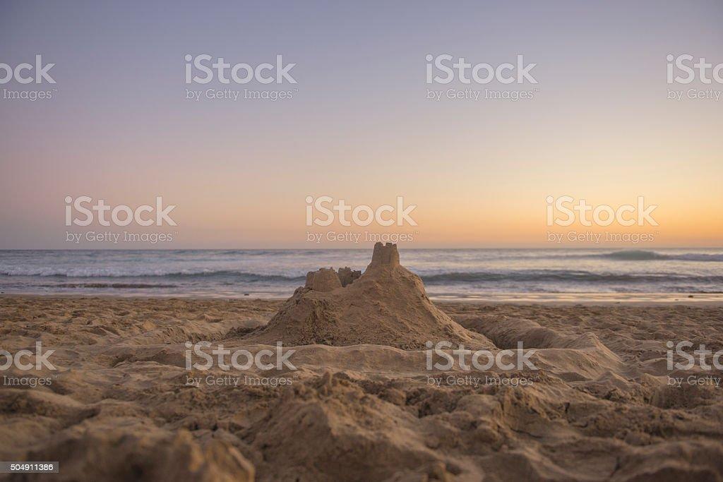 Sandcastle on beach royalty-free stock photo