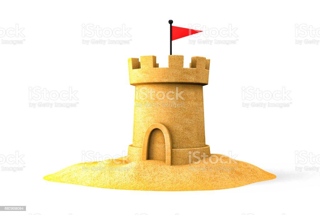Sandcastle on the seaside. 3d illustration stock photo