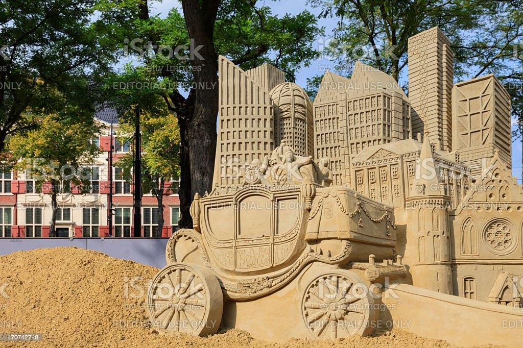 sandcastles on Buitenhof in The Hague stock photo
