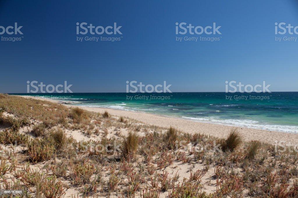 Sanddunes beach and cean stock photo