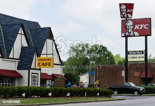 Corbin, Kentucky, USA - April 23, 2016: People leaving the famous Sanders Cafe in Corbin, the birthplace of Colonel Harland Sanders' Kentucky Fried Chicken.