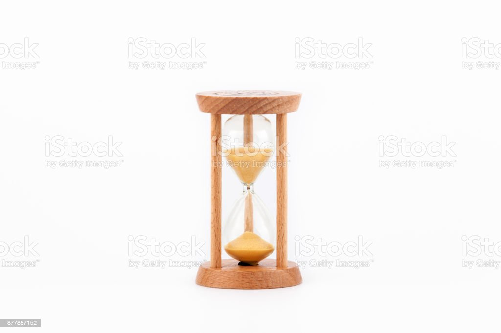 Sandgl Hourglor Egg Timer On White Table Showing The Last Second Or Last Minute