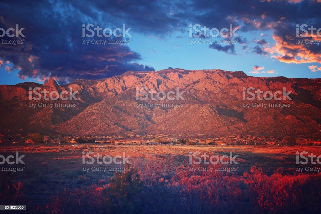 Sandia Mountains at Sunset stock photo