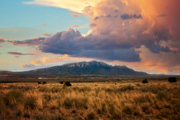 Sandia Mountains at Sunset stock photo