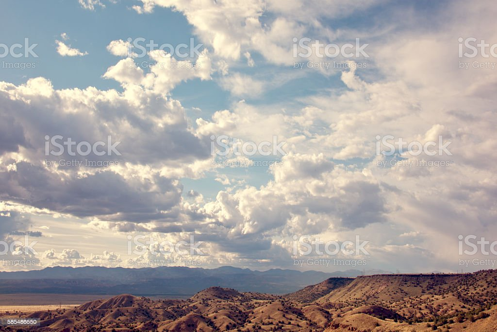 Sandia Mountains with Blue Sky and Clouds stock photo