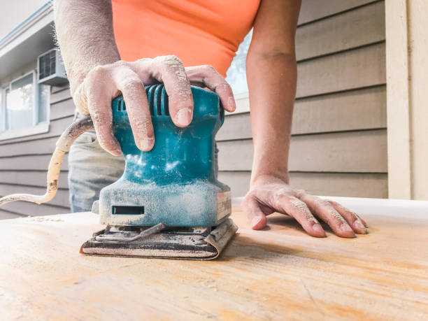 sanding the surface stock photo