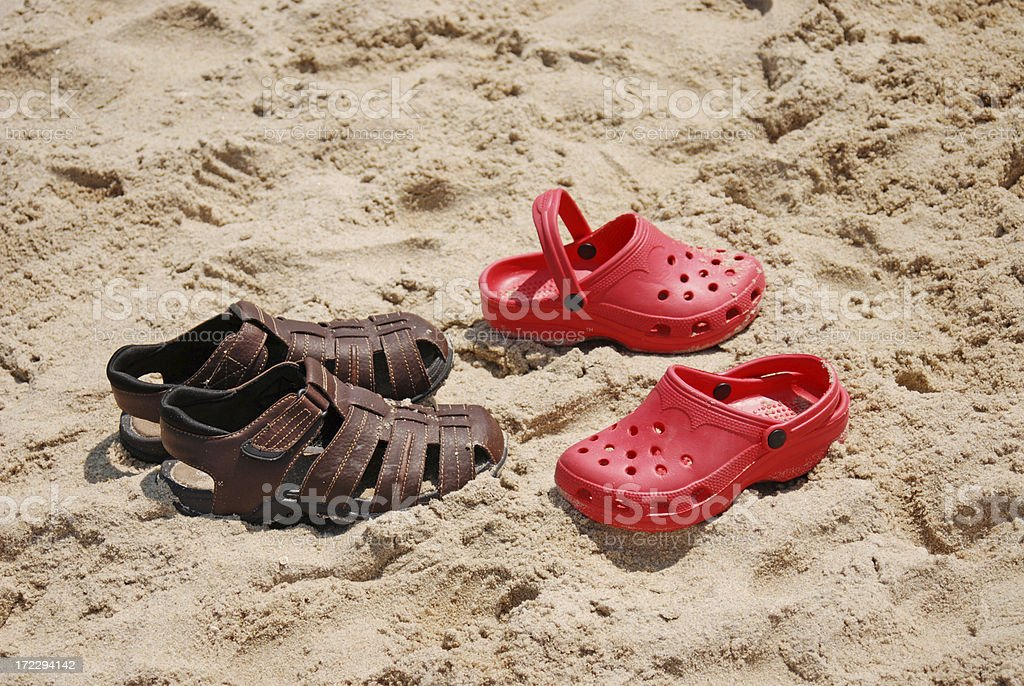 Sandles in the Summer Sand stock photo