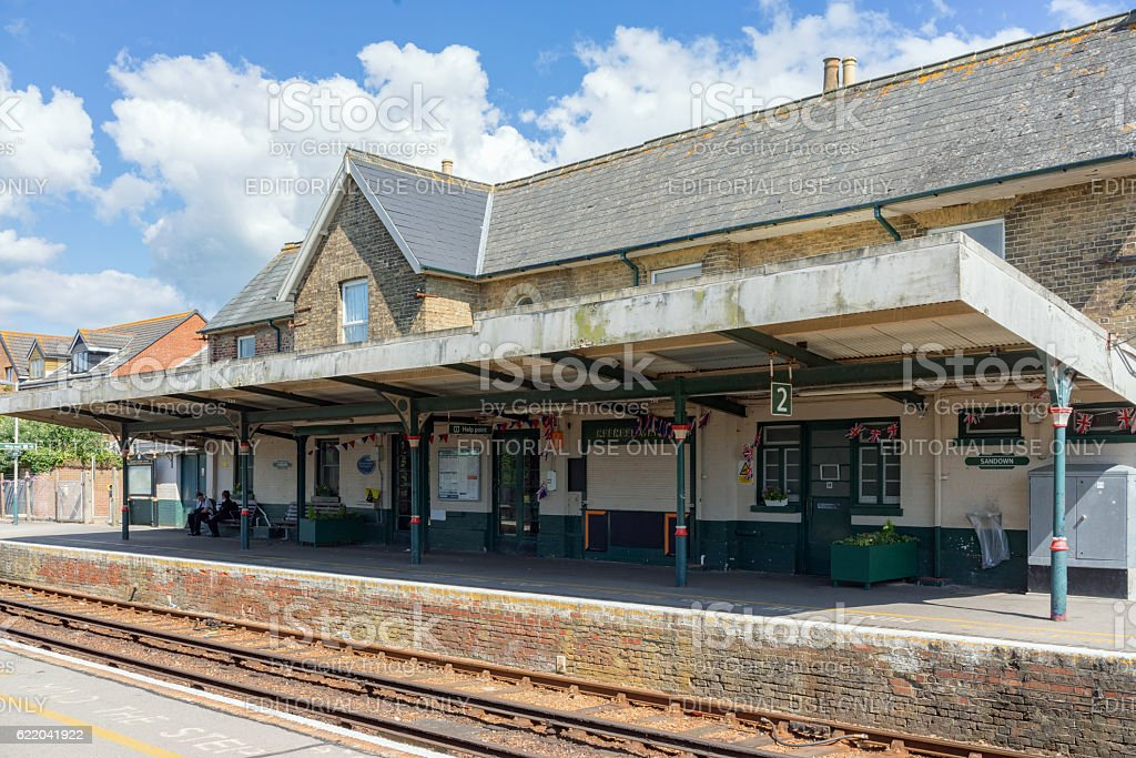 Sandown railway station on the Island Line stock photo