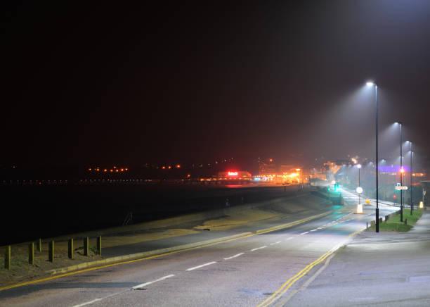 Sandown Seafront at Night stock photo