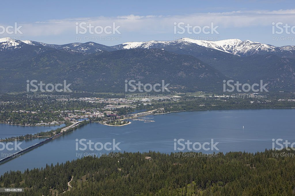 Sandpoint, Idaho with Lake Pend Oreille and Schweitzer stock photo