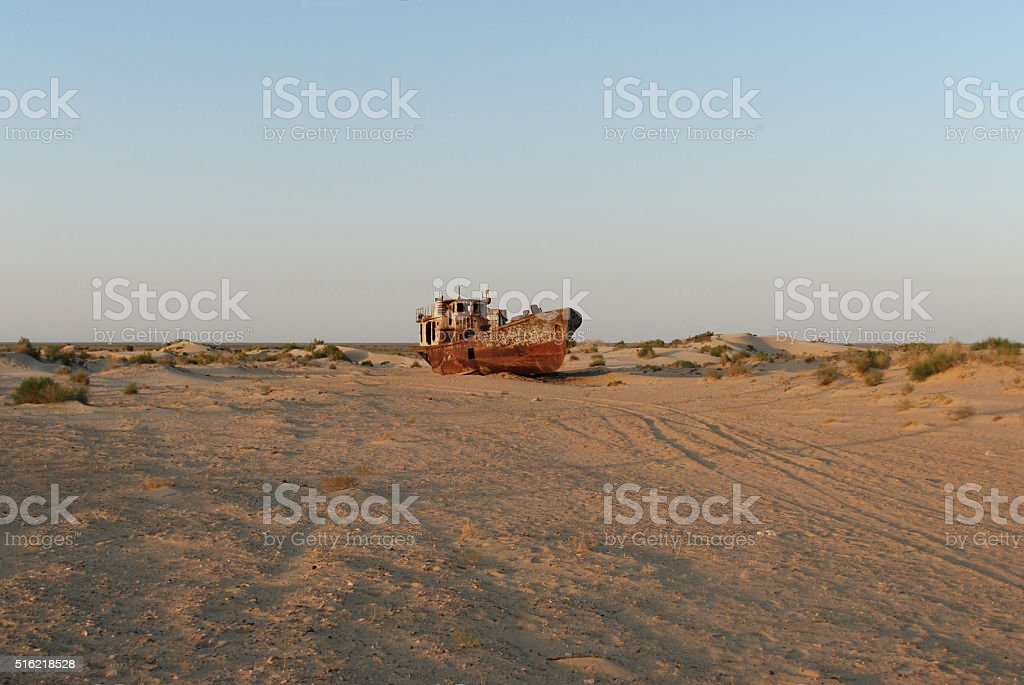 Sands of the Aral Sea stock photo