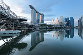 Singapore, 19 Dec 2019: a sunrise skyline view of the Marina Bay with the Helix Bridge, the Marina Bay Sands hotel and the Central Business District in Singapore