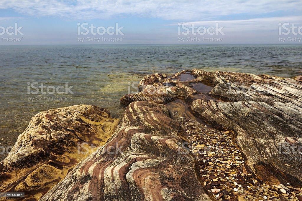 Sandstone Bedrock of Lake Superior stock photo