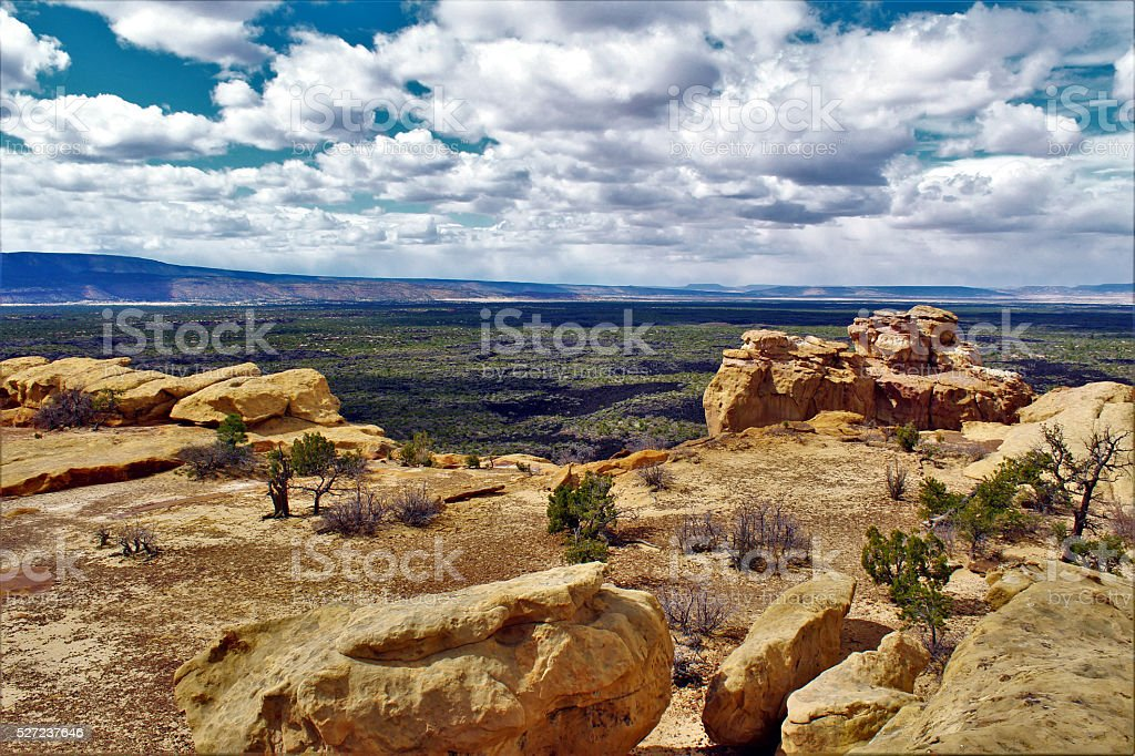 Sandstone Bluffs and Lava Fields of El Malpais stock photo