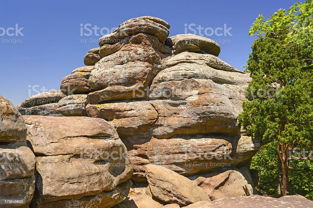Sandstone bluffs on a Sunny Day stock photo