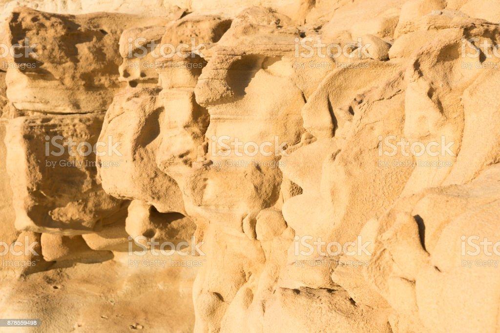 Sandstone cliff at Greek Island beach stock photo