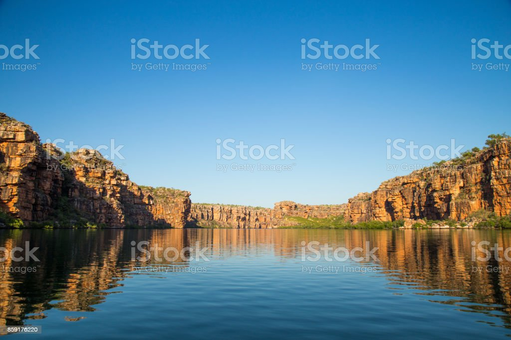 Sandstone cliffs along the King George River, Kimberley, Australia stock photo