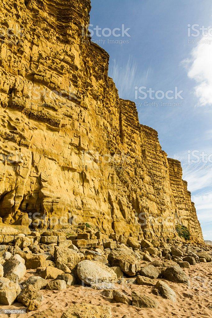 Sandstone Cliffs of West Bay stock photo